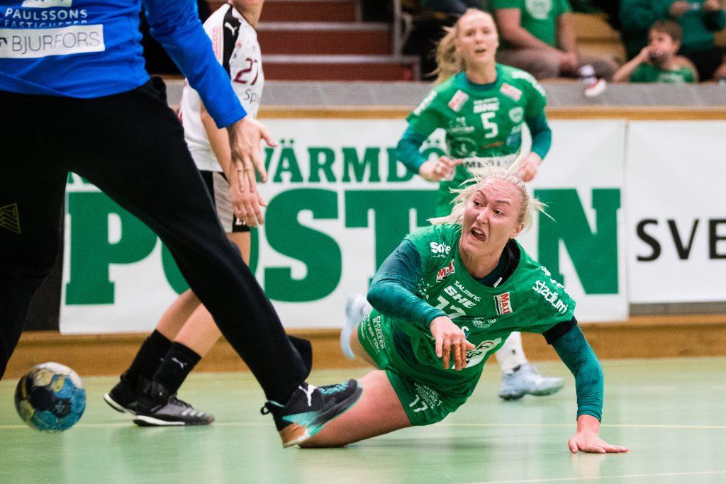 190418 Skurus Jenny Södrén under semifinal 1 i SHEs slutspel mellan Skuru och Lugi den 18 april 2019 i Stockholm.  Foto: Andreas L Eriksson / Bildbyrån / kod AE / Cop 106