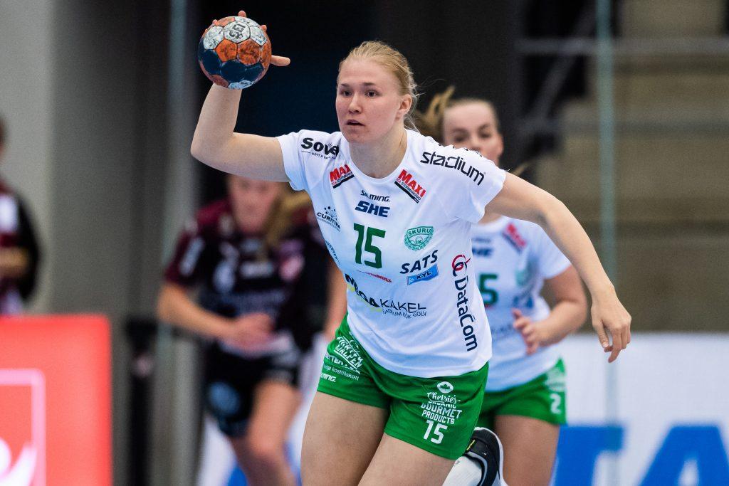 190501 Skurus Isabelle Andersson under semifinal 4 i SHE-slutspelet mellan Lugi och Skuru den 1 maj 2019 i Lund. Foto: Christoffer Borg Mattisson / BILDBYRÅN / COP 261