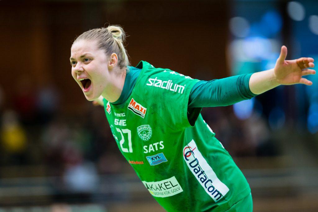 190519 Skurus Ulrika Olsson reagerar under final 3 i SHE mellan Skuru och Sävehof den 19 maj 2019 i Stockholm.  Foto: Andreas Sandström / BILDBYRÅN / Cop 104